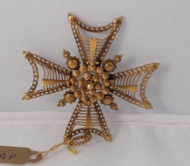 18 Kt. Gold Maltese Cross Pendent