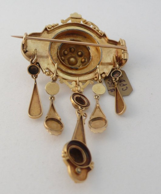 french 18 Kt Gold  & Rose Diamond Dangle Brooch