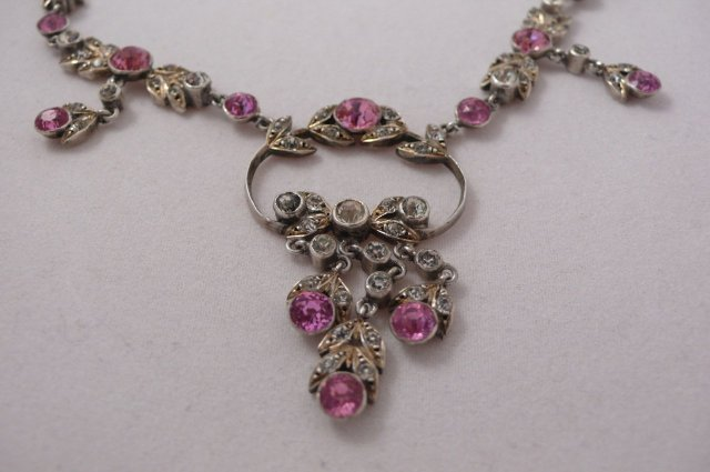 Victorian pink & white paste necklace