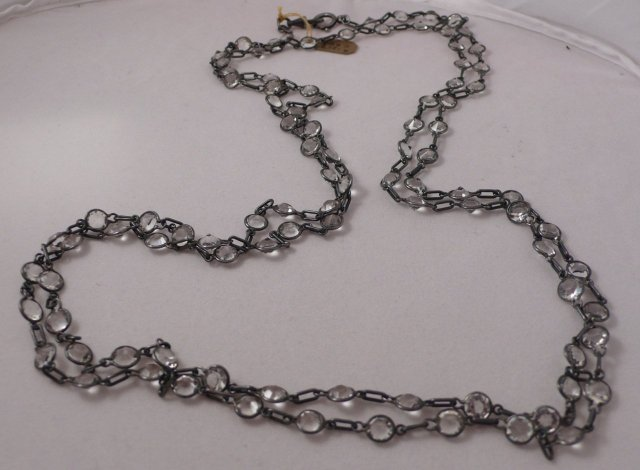 Deco Long gun metal chain with crystals