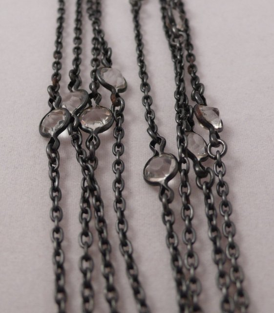 Victorian gun metal chain with crystals
