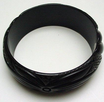 Bakelite Deep Brown Carved Bracelet