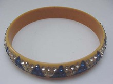 Vintage Celluloid Bangle with blue and white