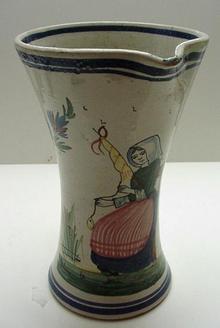 Quimper Early Beaker Jug: HB Quimper c.1890