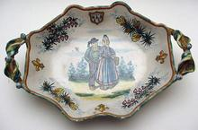 Quimper Dish with Olive Leaf Handles