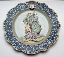 Quimper Unusual Early HR plate with Arabesque