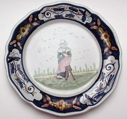 Quimper Early HB Plate :Dutch Delft Border
