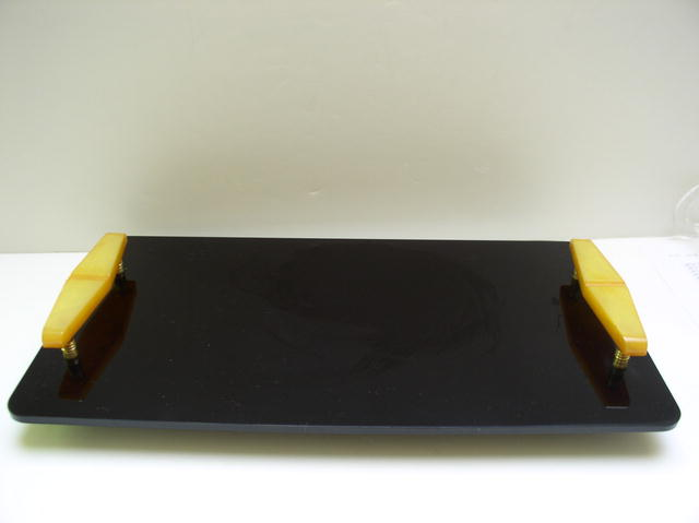 Bakelite vintage English Tray with Deco Yellow
