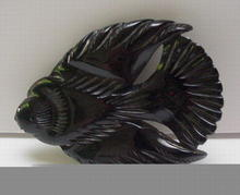 Bakelite Vintage Black Carved Bird Brooch