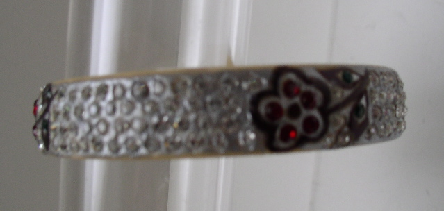 Celluloid Deco Bangle with Flower Designs