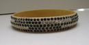 Celluloid blue and clear rhinestone Deco Bangle