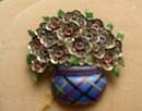 Enamel and Sterling Basket of Flowers Brooch
