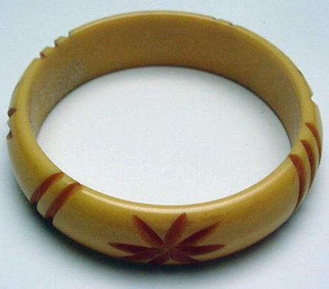 Bakelite Taffy Carved Bangle