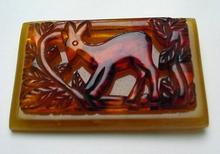 Bakelite Vintage Carved Deer Brooch