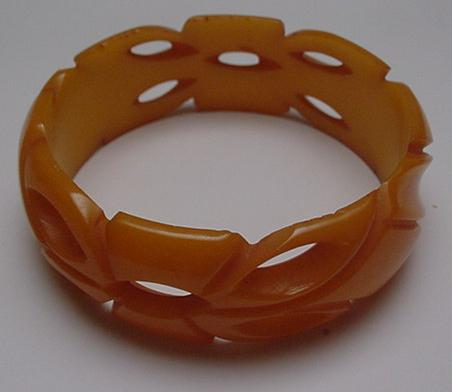 Bakelite Butterscotch Carved and Pierced