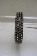 Celluloid Vintage Black and White Rhinestone Bangle