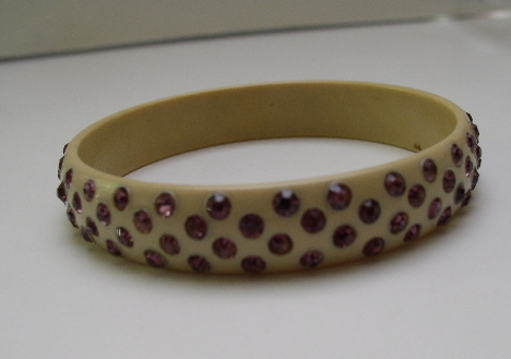 Celluloid Vintage Purple Rhinestone Bangle