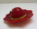 Bakelite vintage Bright Red Hat with a Green Bird Pin
