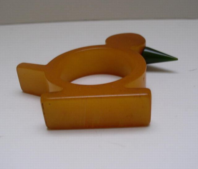 Bakelite Vintage Butterscotch Bird Napkin ring