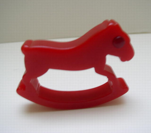 Bakelite Vintage Red Rocking Horse with Red