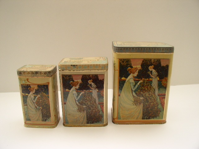 Three Delightful French Art Nouveau Tea Tins