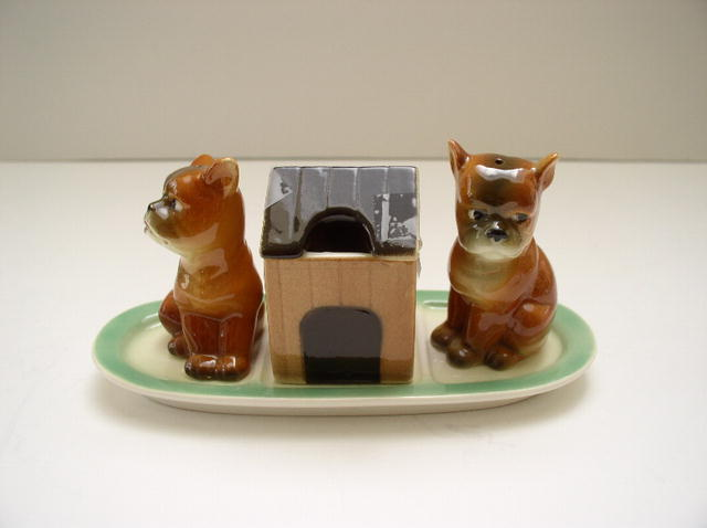 Goebel  Dog Cruet: Salt Pepper Mustard