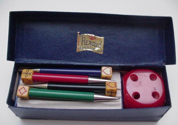 Bakelite Vintage  English Bridge Pencil Set
