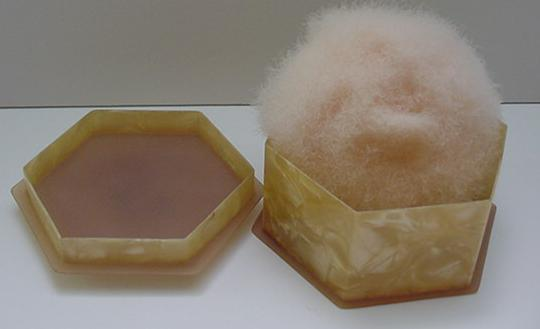 Celluloid Six Sided Vintage Powder Box with Puff