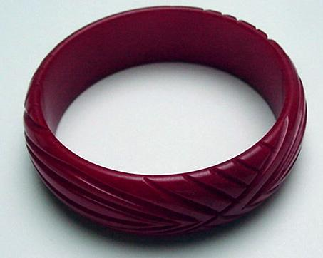 Bakelite Red Carved Bangle