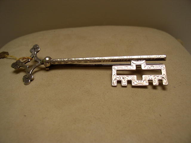 Victorian Sterling Silver Key Brooch