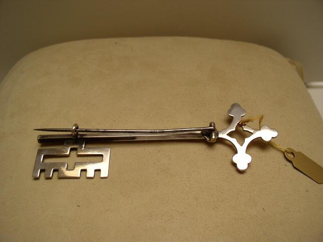 Victorian Sterling Silver Key Brooch