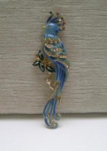 Vintage Coro Enamel Bird Brooch