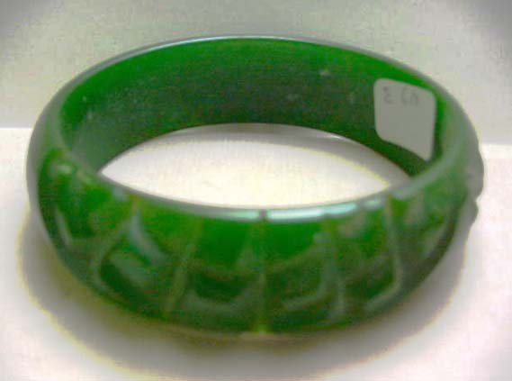 Bakelite Vintage Green Carved Bangle Bracelet
