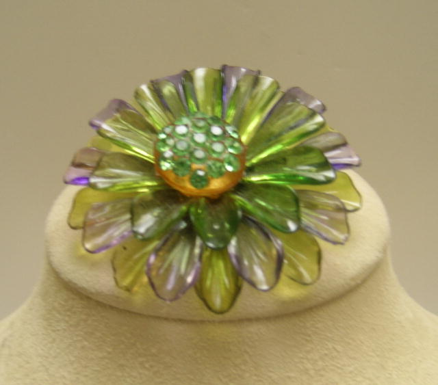 Purple and Green plastic flower brooch