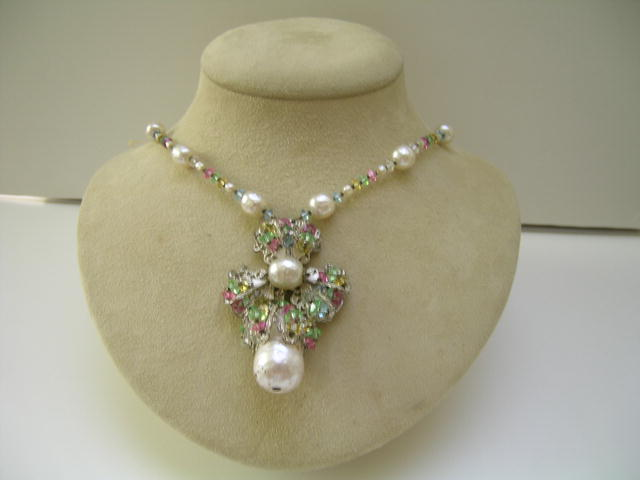 Miriam Haskell Pearl and Crystal Necklace