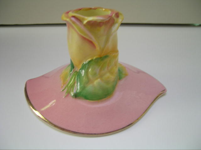 Royal Winton Pink Rosebud Pastel Candle Holder