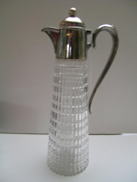 Deco English Cut Glass /Silver Claret