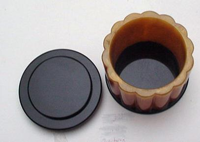 Bakelite Black and Orange Ribbed Deco Box