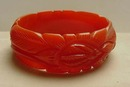 Bakelite Deeply Carved Coral Bangle Bracelet