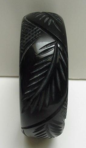 Bakelite Black Carved Leaf Bangle