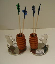 Bakelite and Chrome Set of Dog Toothpick