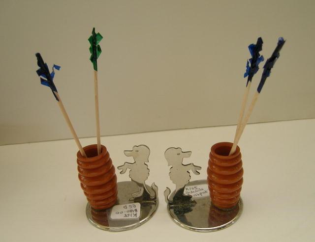 Bakelite and Chrome Set of Dog Toothpick