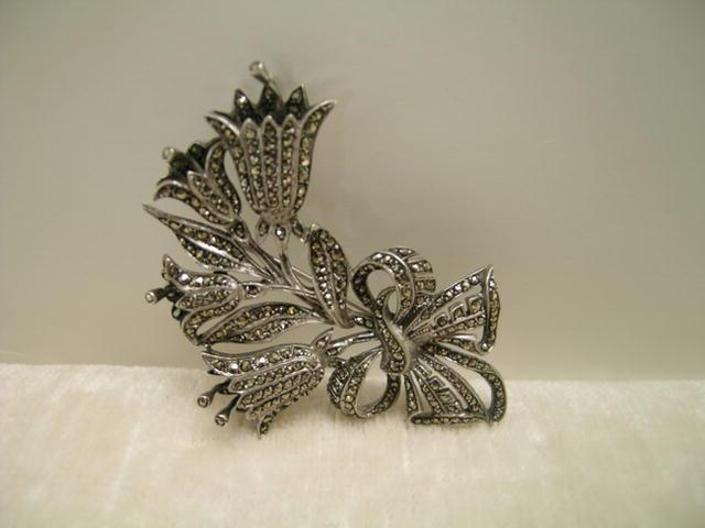 Vintage English  Marcasite Flower Brooch