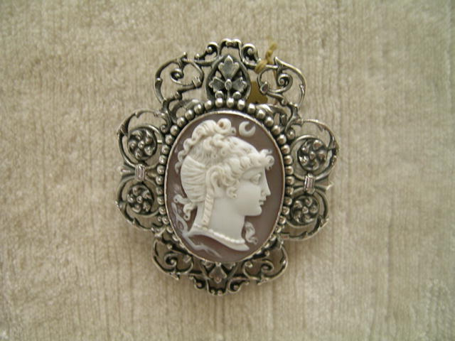 Victorian Sterling Cameo Brooch