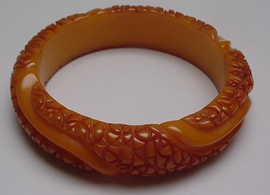 Bakelite Carmel Carved Bangle