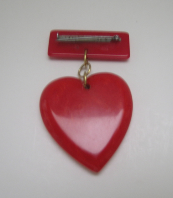 Bakelite Vintage Heart Brooch