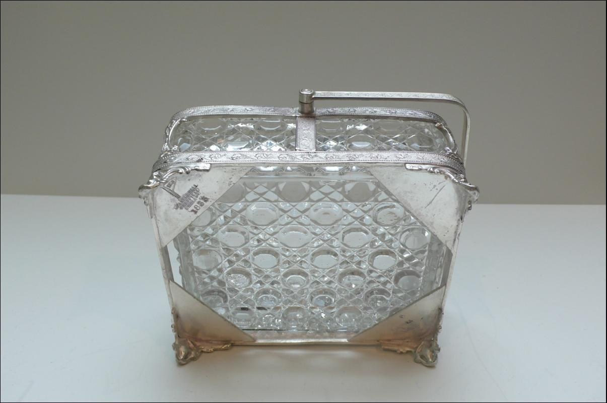 Victorian Silver plate and glass sardine box