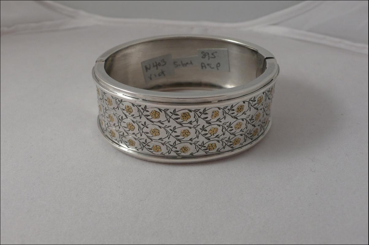 Victorian Sterling Bangle with Gold Flowers