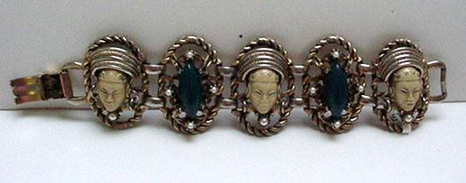 Beautiful Asian Faces Bracelet with pearls