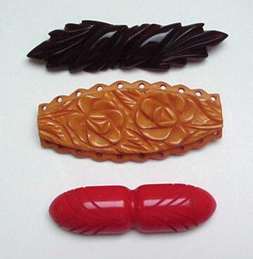 Three Vintage Deco Bakelite Brooches